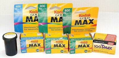 5 rolls KODAK 35mm FILMS Gold MAX 800 400 COLOR TMAX 100 BW Black White Expired