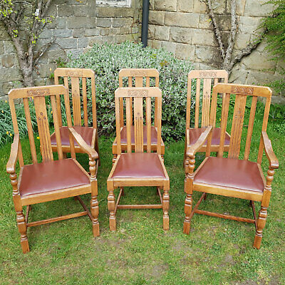 Edwardian Art & Crafts Gothic Oak & Leather Set of 6 Dining Chairs & Carvers