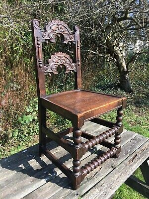 Carved Charles II Oak Mortuary Chair 17th Century Dining Library Desk Circa 1680