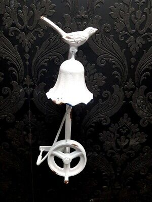 Cast Iron White Antique Bird Door Bell Bracket Wall Mounted Doorbell