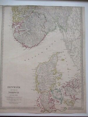 1833 Antique Engraved Map DENMARK and part of NORWAY Hand Coloured in Outline