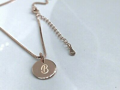 Sterling Silver 925 Rose Gold Plated Letter B Intial Disc Coin Necklace