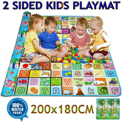 2 Side Kids Baby Educational Game Play Mat Foam Picnic Carpet 200x180cm UK