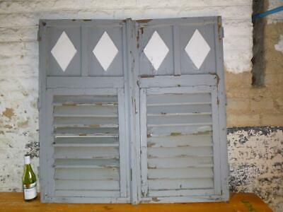 VINTAGE WOODEN SHUTTERS WINDOW 117X117Cm  ANTIQUE FRENCH  RECLAIMED   FREE post