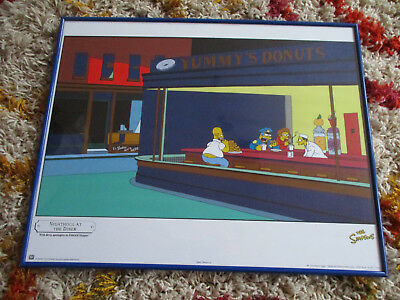 THE SIMPSONS NIGHTHOGS AT THE DINER BY MATT GROENING 1998 Poster 50x40cm gerahmt