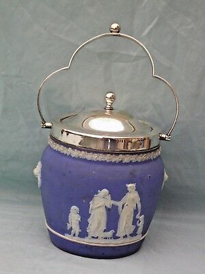 ANTIQUE WEDGWOOD BLUE JASPER WARE BISCUIT BARREL WITH CLASSICAL FIGURES c1920's
