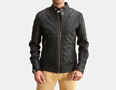 2935627ae92d New Men's Leather Motorcycle Quilted Jacket Real Lambskin Soft Leather MJ835