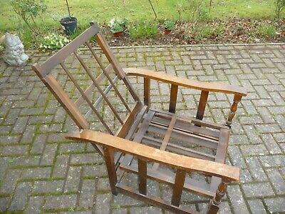 Vintage Wooden Planyation Chair Recliner Steamer Occasional Bed Edwardian?