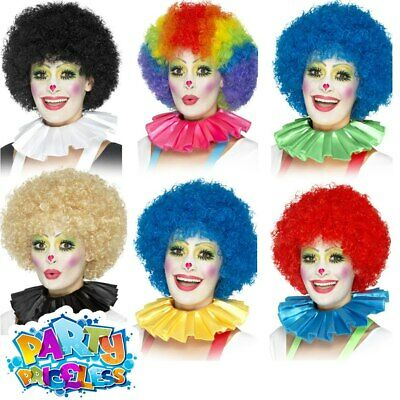 Adults Ladies Mens Clown Neck Ruffle Collar Circus Fancy Dress Costume Accessory
