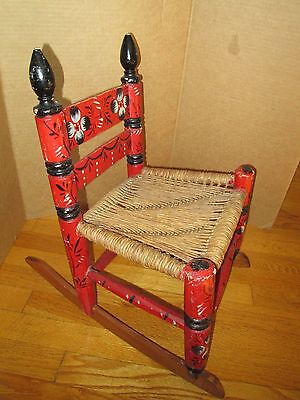 "Antique Child's Red Rocking Chair with ""Cane"" Seating- Mexican Folk Art Style"