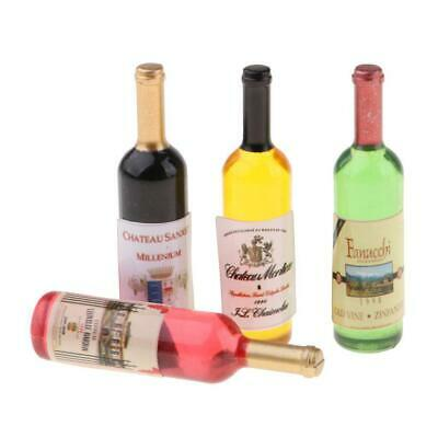 6Pieces 1/12 Scale Wine Champagne Bottles Dollhouse Dining Table Accessories