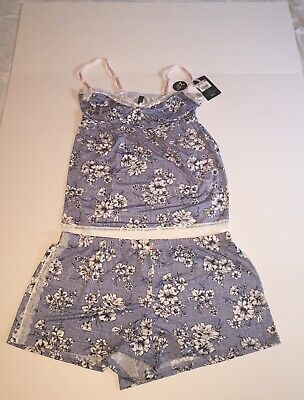 06fc329a018d Laura Ashley Women's Blue Floral Lace Trim Cami And Short Sleepwear Size XL  NWT