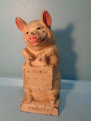 """""""The Wise Pig"""" Cast Iron Still Bank Hubley 6 5/8"""" USA 1930's Pristine"""