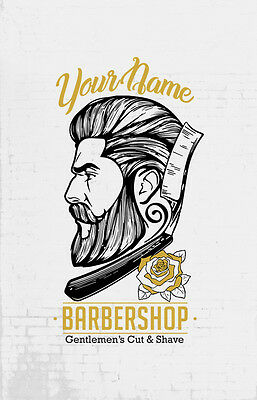 BARBER SHOP SIGN two colour personalised vinyl decal sticker