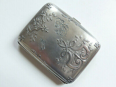 SUPERB ANTIQUE FRENCH SOLID SILVER 800 CIGARETTE CASE w. CROWN 1890's