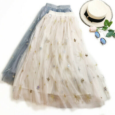 371f634e13 Lady Mesh Skirt Sequin Embroidery Tulle Long A-line Shiny Star Lolita  Casual New