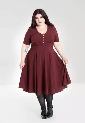 de014ae337 Hell Bunny Mila Dress burgundy Alternative Fashion New Collection Plus Size  2x