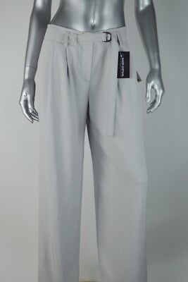 DKNY New Womens Grey Cement Pleated Front Wide Leg Belted Pants MSRP $315 Size 0