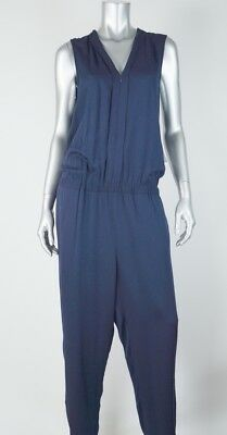 TOMMY HILFIGER New Womens Navy Blue Jumpsuit Rayon Zip Front MSRP $129 Size 16