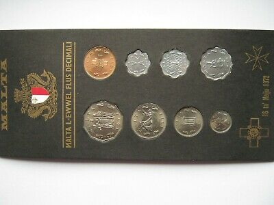 Malta 1972 central bank circulating coins set UNC in plastic wallet