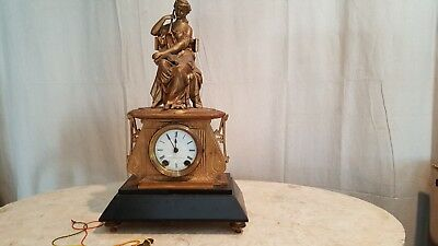 Antique Figural Brass/Gilt Metal mantel clock