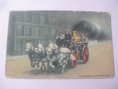 Fire engine horse drawn postcard