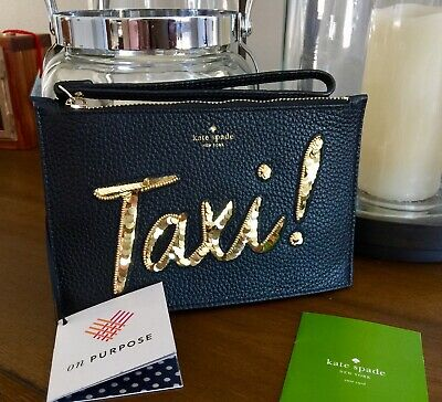 NWT Kate Spade On Purpose Taxi Mini Leather Wristlet RP $128 Black Gold Sequin