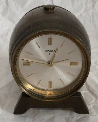 Swiza Swiss-Made Alarm Clock With Brass Key Keg Barrel Shaped