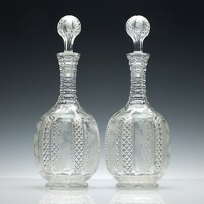 Pair of Cut and Engraved Antique 19th Century Victorian Decanters c1870