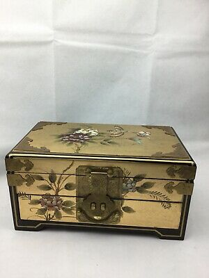 Handpainted Large Black Gold Lacquered Jewellery Box