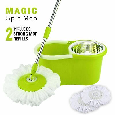 Mop Bucket Floor Cleaner Home Cleaning With Two Heads Spin Rotating 360° Mop Set