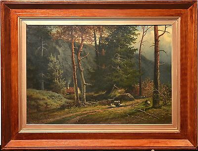 Antique Swedish 19th century painting oil on canvas : Forest Hills Landscape