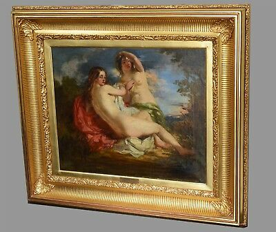 Antique 19th Century British Oil Painting on Canvas : Nude Girls of Bather