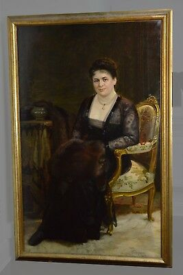 Large Antique 1917 Oil Painting Russian Master : Portrait of Noble Lady