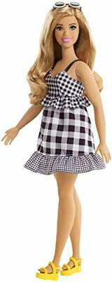 Barbie FJF56 Fashion and Beauty Fashionistas Doll-Black and White Gingham Curvy