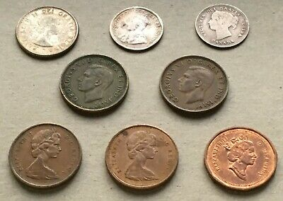 LOT of 8 CANADA WARTIME SILVER ESTATE COINS! w WWI WWII 1899 1919 1943 1945 DIME