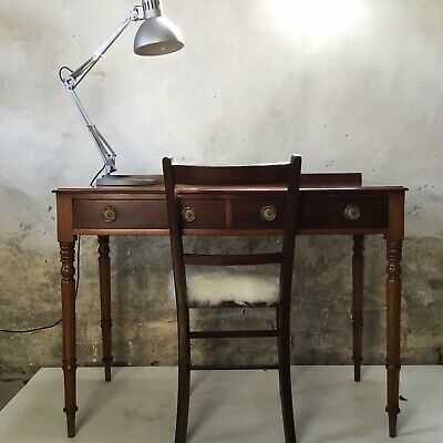 Antique Victorian Library Style Mahogany 2 Drawer Hall Side Table Writing Desk