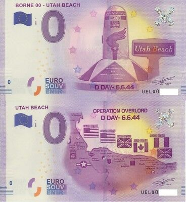 billet souvenir 0 zero euro UTAH Beach 2017-1 Borne 0 et  2017-2 Operation Overl