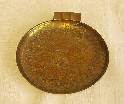 Brass, vintage, highly floral decorated large flat ashtray or sweet tray