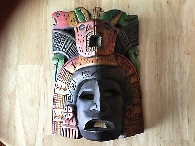 Vintage Carved Wooden Wall Mask South American Mayan Aztec