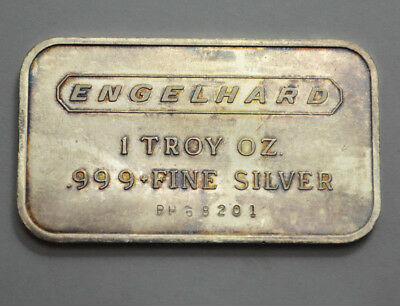 ENGELHARD 1 OZ TROY SILVER .999+ FINE SILVER BAR HORIZONTAL With Serial Number !