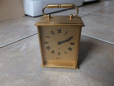 Helveco Small but Heavy Brass Carriage Clock Swiss Jewelled 8-Day. keeps time