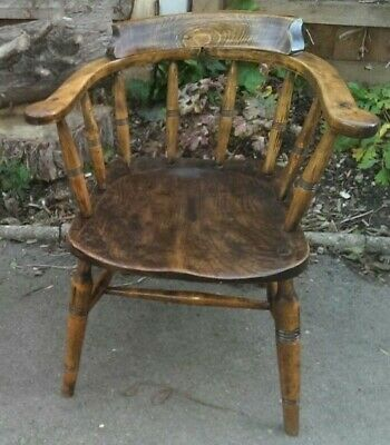 Antique Victorian Elm Captains Bow Chair DELIVERY POSSIBLE