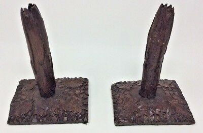 Antique Black Forest Carved Wooden Candlesticks H22 L15 W12.5 cms