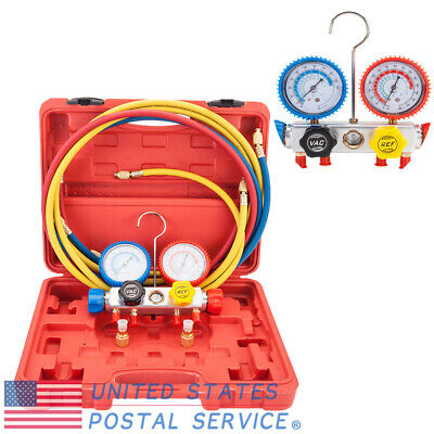 R404A R410A R22 Manifold Dual Gauge Valve&Red Plastic Case&Hose&Brass Adapters