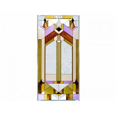 "Architectural Geometric Art Glass Hanging Window Panel 20.5"" x 42"" Home Decor"