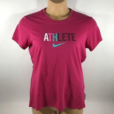 Nike Dri Fit Cotton Tee Short Sleeve T-Shirt Graphic Athlete Pink Womens Large L