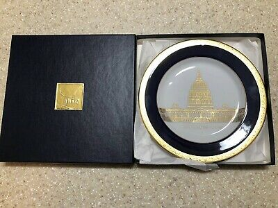 """United States US Capitol 1793 - 1993 Bicentennial Blue Gold Plate 7 1/2"""" W/ Box"""