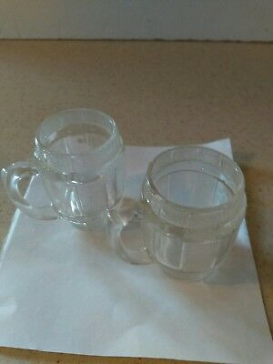 Vintage Clear Glass Barrel Miniature Mug/Shot Glass/Toothpick Holder   Set Of 2