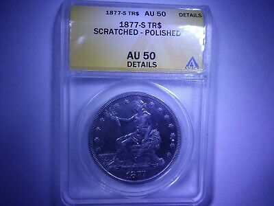 1877- S Anacs Au50 Details (About Uncirculated) Trade Silver Dollar~Ships Free
